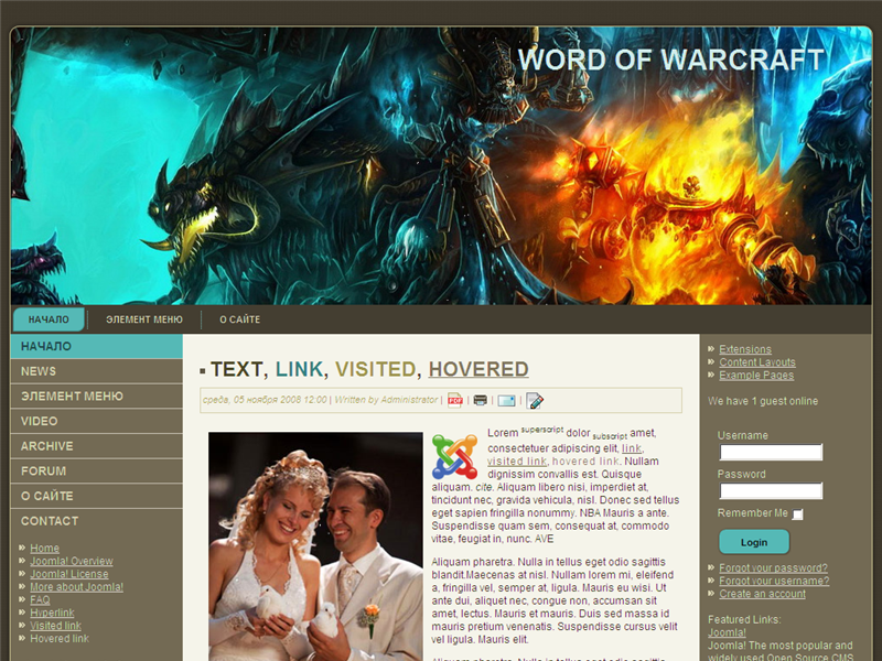 Шаблон World of Warcraft
